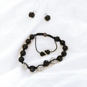 Jewelry - Adjustable Bead & Crystal Bracelet and Earrings